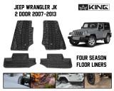 28010201 King 4WD Premium Four-Season Floor Liners Front and Rear Passenger Area Jeep Wrangler JK 2 Door 2007-2013.