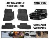 28010401 King 4WD Premium Four-Season Floor Liners Front and Rear Passenger Area Jeep Wrangler JK 2 Door 2014-2018.