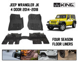 28010501 King 4WD Premium Four-Season Floor Liners Front and Rear Passenger Area Jeep Wrangler Unlimited JKU 4 Door 2014-2018.