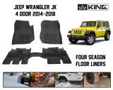 28010501 King 4WD Premium Four-Season Floor Liners Front and Rear Passenger Area Jeep Wrangler Unlimited JKU 4 Door 2014-2018.