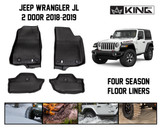28010601 King 4WD Premium Four-Season Floor Liners Front and Rear Passenger Area Jeep Wrangler JL 2 Door 2018-2019