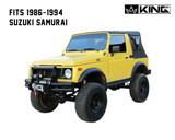 14011035 King 4WD Premium Replacement Soft Top, Black Diamond With Tinted Windows, 1986-1994 Suzuki Samurai. Front Side View