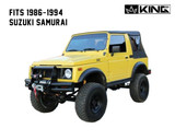 14011035 King 4WD Premium Replacement Soft Top, Black Diamond With Tinted Windows, 1986-1994 Suzuki Samurai. Front Side View