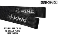 16010001 King 4WD Heavy Duty Adjustable Door Straps Solid In Pairs for CJ, YJ & TJ & JK