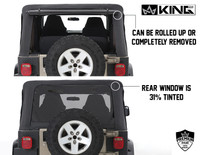 14010235 King 4WD Premium Replacement Soft Top Without Upper Doors, Black Diamond With Tinted Windows, Jeep Wrangler TJ 1997-2006. Back View, Windows Can be Rolled up or removed. 31% Tint.