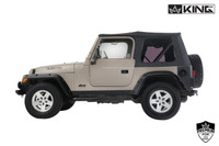14010235 King 4WD Premium Replacement Soft Top Without Upper Doors, Black Diamond With Tinted Windows, Jeep Wrangler TJ 1997-2006. Soft Top Side View.