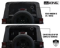 14010535 King 4WD Premium Replacement Soft Top, Black Diamond With Tinted Windows, Jeep Wrangler JK 2 Door 2010-2018. Back View, Windows Can be Rolled up or removed. 31% Tint.