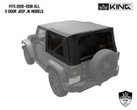 14010535 King 4WD Premium Replacement Soft Top, Black Diamond With Tinted Windows, Jeep Wrangler JK 2 Door 2010-2018. Fits 2010-2018 All 2 Door Jeep JK Models.