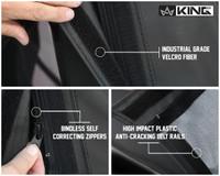 14010535 King 4WD Premium Replacement Soft Top, Black Diamond With Tinted Windows, Jeep Wrangler JK 2 Door 2010-2018. Industrial Grade Velcro Fiber, Bindless Self-correcting Zippers, High Impact Plastic Cracking Belt Rails.