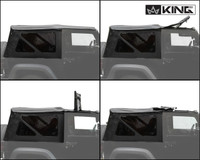 14010535 King 4WD Premium Replacement Soft Top, Black Diamond With Tinted Windows, Jeep Wrangler JK 2 Door 2010-2018. 4 Panel Soft Top Assembly.