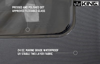 14010635 King 4WD Premium Replacement Soft Top, Black Diamond With Tinted Windows, Jeep Wrangler Unlimited JK 4 Door 2010-2018. Pressed and Polished DOT Approved Flexible Glass, 24oz Marine Grade Waterproof UV Stable Two Layer Fabric.