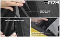 14010635 King 4WD Premium Replacement Soft Top, Black Diamond With Tinted Windows, Jeep Wrangler Unlimited JK 4 Door 2010-2018.  Industrial Grade Velcro Fiber, Bindless Self-correcting Zippers, High Impact Plastic Cracking Belt Rails.
