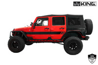 14010435 King 4WD Premium Replacement Soft Top, Black Diamond With Tinted Windows, Jeep Wrangler Unlimited JK 4 Door 2007-2009. Jeep Side View.