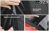 14010435 King 4WD Premium Replacement Soft Top, Black Diamond With Tinted Windows, Jeep Wrangler Unlimited JK 4 Door 2007-2009. Industrial Grade Velcro Fiber, Bindless Self-correcting Zippers, High Impact Plastic Cracking Belt Rails.