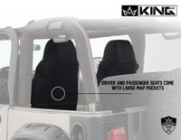 11010601 King 4WD Premium Neoprene Seat Cover Jeep Wrangler TJ 2003-2006. Driver and Passenger Seats come with Large Map Pockets.