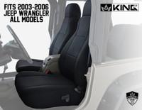 11010601 King 4WD Premium Neoprene Seat Cover Jeep Wrangler TJ 2003-2006. Fits all 2003-2006 Jeep Wrangler All Models.