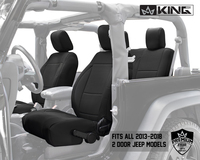 11010101 King 4WD Premium Neoprene Seat Cover Jeep Wrangler JK 2 Door 2013-2018. Fits all 2013-2018 2 door Jeeps.