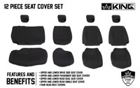 11010201 King 4WD Premium Neoprene Seat Cover Jeep Wrangler Unlimited JK 4 Door 2013-2018. Full 12 Piece Cover Seat Features and Benefits.