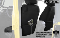 11010201 King 4WD Premium Neoprene Seat Cover Jeep Wrangler Unlimited JK 4 Door 2013-2018. Driver and Passenger Seats come with Large Map Pockets.