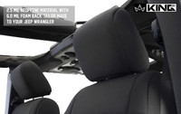 11010201 King 4WD Premium Neoprene Seat Cover Jeep Wrangler Unlimited JK 4 Door 2013-2018. 2.5 MIL Neoprene material with 6.0 MIL Foam Back Tailor Made to your Jeep.