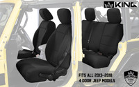 11010201 King 4WD Premium Neoprene Seat Cover Jeep Wrangler Unlimited JK 4 Door 2013-2018. Fits all 2013-2018 4 Door Jeep Models.