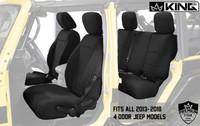 11010201 King 4WD Premium Neoprene Seat Cover Jeep Wrangler Unlimited JK 4 Door 2013-2018. Fits all 2013-2018 4 Door Jeep Models.