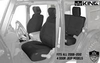 11010401 King 4WD Premium Neoprene Seat Cover Jeep Wrangler Unlimited 4 Door 2008-2012. Fits all 2008-2012 4 Door Jeep Models.