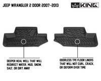 28010201 King 4WD Premium Four-Season Floor Liners Front and Rear Passenger Area Jeep Wrangler JK 2 Door 2007-2013. Driver and passenger rear liners. Deeper heal well that will redirect water, mud, snow, salt, or dirt away. Odorless TPE floor liners that will not curl, crack, or deform over time.