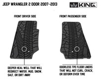 28010201 King 4WD Premium Four-Season Floor Liners Front and Rear Passenger Area Jeep Wrangler JK 2 Door 2007-2013. Front driver side and front passenger side. Deeper heal well that will redirect water, mud, snow, salt, or dirt away. Odorless TPE floor liners that will not curl, crack, or deform over time.