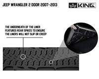 28010201 King 4WD Premium Four-Season Floor Liners Front and Rear Passenger Area Jeep Wrangler JK 2 Door 2007-2013. The underneath of the liner features rear spikes to ensure the liners will not slip or creep.