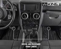 28010201 King 4WD Premium Four-Season Floor Liners Front and Rear Passenger Area Jeep Wrangler JK 2 Door 2007-2013. Driver and passenger front liners.