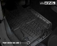 28010401 King 4WD Premium Four-Season Floor Liners Front and Rear Passenger Area Jeep Wrangler JK 2 Door 2014-2018. Front driver side liner.
