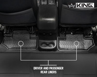 28010401 King 4WD Premium Four-Season Floor Liners Front and Rear Passenger Area Jeep Wrangler JK 2 Door 2014-2018. Driver and passenger rear liners.