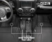 28010401 King 4WD Premium Four-Season Floor Liners Front and Rear Passenger Area Jeep Wrangler JK 2 Door 2014-2018. Driver and passenger front liners.