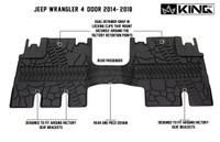 28010501 King 4WD Premium Four-Season Floor Liners Front and Rear Passenger Area Jeep Wrangler Unlimited JKU 4 Door 2014-2018. Rear one piece design. Dual retainer snap in locking clips that mount securely around the factory retention points. Designed to fit around factory seat brackets.