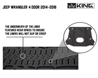 28020301 King 4WD Premium Four-Season Cargo Liner With Sub Woofer Cut Out Jeep Wrangler Unlimited JK 4 Door 2014-2018. The underneath of the liner features rear spikes to ensure the liners will not slip or creep.