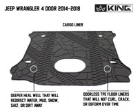 28020301 King 4WD Premium Four-Season Cargo Liner With Sub Woofer Cut Out Jeep Wrangler Unlimited JK 4 Door 2014-2018. Deeper heal well that will redirect water, mud, snow, salt, or dirt away. Odorless TPE floor liners that will not curl, crack, or deform over time.