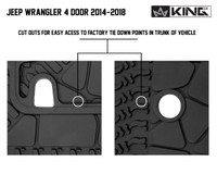28020301 King 4WD Premium Four-Season Cargo Liner With Sub Woofer Cut Out Jeep Wrangler Unlimited JK 4 Door 2014-2018. Cut outs for easy access to factory tie down points in trunk of vehicle.