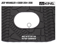 28020301 King 4WD Premium Four-Season Cargo Liner With Sub Woofer Cut Out Jeep Wrangler Unlimited JK 4 Door 2014-2018. Built in cut out for factory subwoofer.