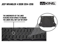 28020501 King 4WD Premium Four-Season Cargo Liner Jeep Wrangler Unlimited JK 4 Door 2014-2018. The underneath of the liner features rear spikes to ensure the liners will not slip or creep.