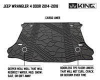 28020501 King 4WD Premium Four-Season Cargo Liner Jeep Wrangler Unlimited JK 4 Door 2014-2018. Deeper heal well that will redirect water, mud, snow, salt, or dirt away. Odorless TPE floor liners that will not curl, crack, or deform over time.