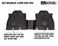 28010701 King 4WD Premium Four-Season Floor Liners Front and Rear Passenger Area Jeep Wrangler Unlimited JL 4 Door 2018-2019. Rear one piece.  Deeper heal well that will redirect water, mud, snow, salt, or dirt away. Odorless TPE floor liners that will not curl, crack, or deform over time.