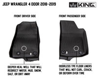 28010701 King 4WD Premium Four-Season Floor Liners Front and Rear Passenger Area Jeep Wrangler Unlimited JL 4 Door 2018-2019. Front driver side and front passenger side. Deeper heal well that will redirect water, mud, snow, salt, or dirt away. Odorless TPE floor liners that will not curl, crack, or deform over time.