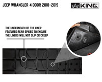 28010701 King 4WD Premium Four-Season Floor Liners Front and Rear Passenger Area Jeep Wrangler Unlimited JL 4 Door 2018-2019. The underneath of the liner features rear spikes to ensure the liners will not slip or creep.