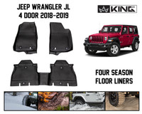 28010701 King 4WD Premium Four-Season Floor Liners Front and Rear Passenger Area Jeep Wrangler Unlimited JL 4 Door 2018-2019.