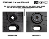 28010701 King 4WD Premium Four-Season Floor Liners Front and Rear Passenger Area Jeep Wrangler Unlimited JL 4 Door 2018-2019. Our driver and rear passenger liners have dual retainer snap in locking clips that mount securely around the factory retention points.