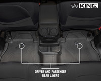 28010701 King 4WD Premium Four-Season Floor Liners Front and Rear Passenger Area Jeep Wrangler Unlimited JL 4 Door 2018-2019. Driver and passenger rear liners.