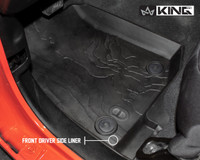 28010701 King 4WD Premium Four-Season Floor Liners Front and Rear Passenger Area Jeep Wrangler Unlimited JL 4 Door 2018-2019. Front driver side liner.
