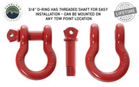 """Recovery Shackle 3/4"""" 4.75 Ton Red (19019904) D-Ring has Threaded Shaft for Easy Installation - Can be mounted on any tow location."""