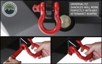 """Recovery Shackle 3/4"""" 4.75 Ton Red (19019904) Shackle on Bumper, Universal fit shackles will work perfectly with any aftermarket bumper."""